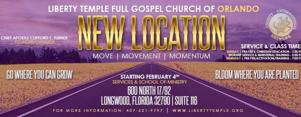 New Church Location – Liberty Temple Orlando