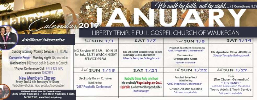 Liberty Waukegan January 2017 Calendar